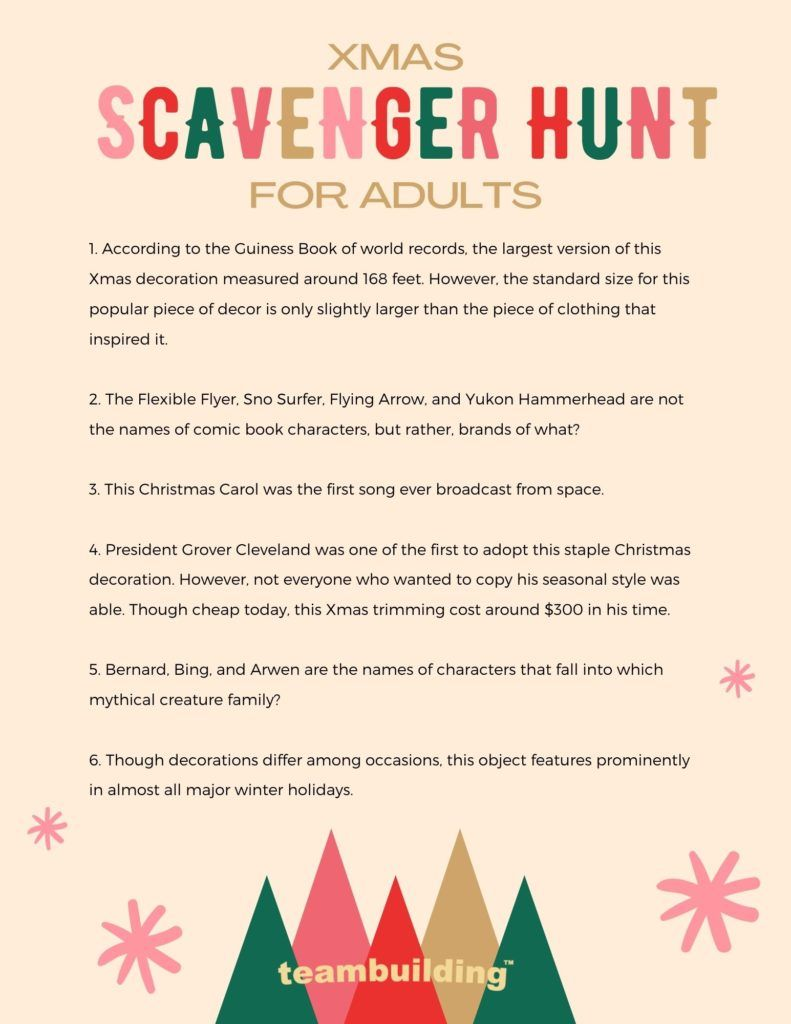 Xmas Scavenger Hunt for Adults template