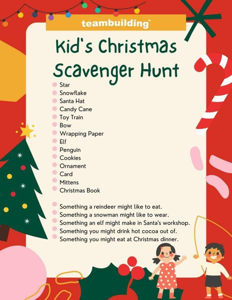 Kid's Christmas Scavenger Hunt template