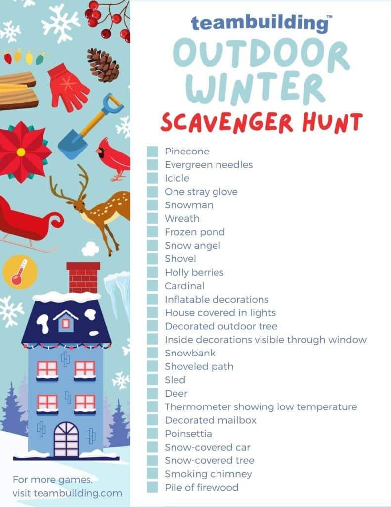 Outdoor Winter Scavenger Hunt template