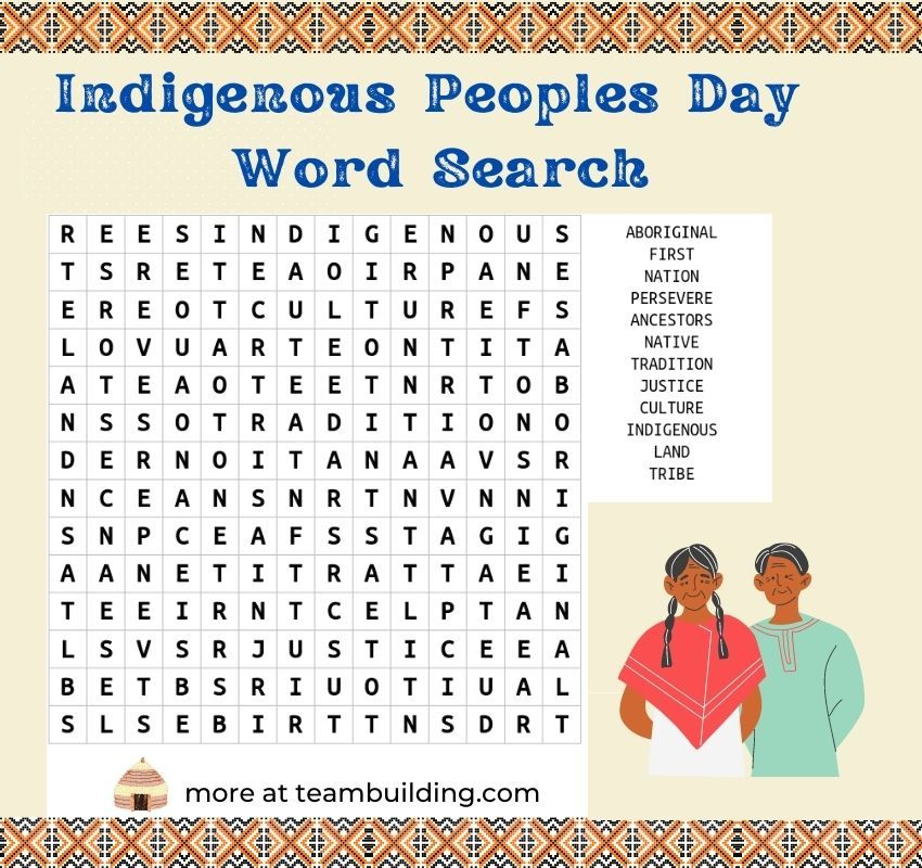 Indigenous peoples day word search template